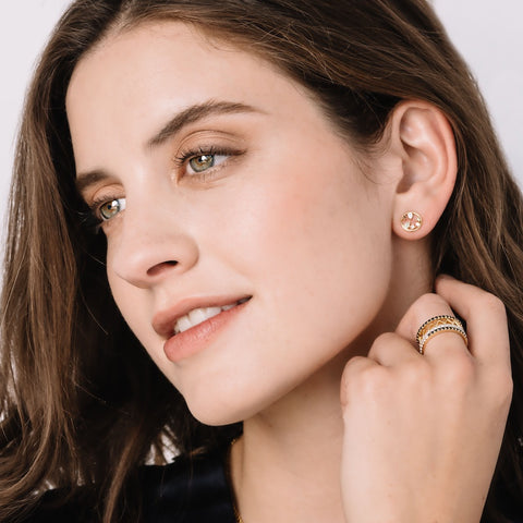 Melrose Open Circle Gemstone Stud Earrings