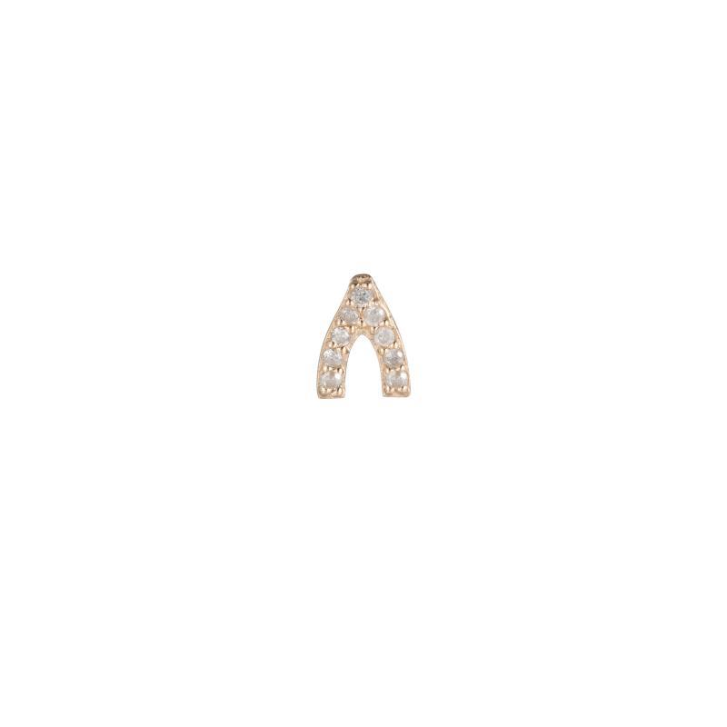 Diamond Pavé Wishbone SINGLE Stud Earring, 14k-Earrings-Ashley Schenkein Jewelry Design