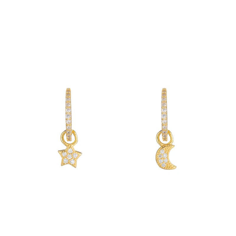 Melrose CZ Pavé Moon and Star Drop Earrings-Earrings-Ashley Schenkein Jewelry Design