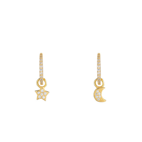 Melrose CZ Pavé Moon and Star Drop Earrings