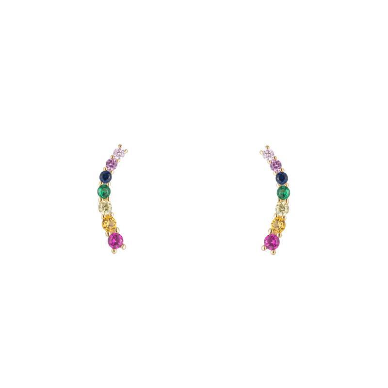 Melrose Rainbow CZ Climbers-Earrings-Ashley Schenkein Jewelry Design