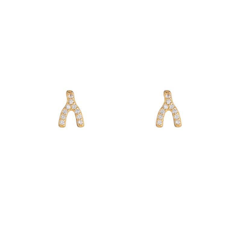 Melrose CZ Pavé Wishbone Studs-Earrings-Ashley Schenkein Jewelry Design