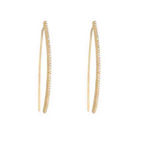 Melrose CZ Pave Curved Bar Earrings