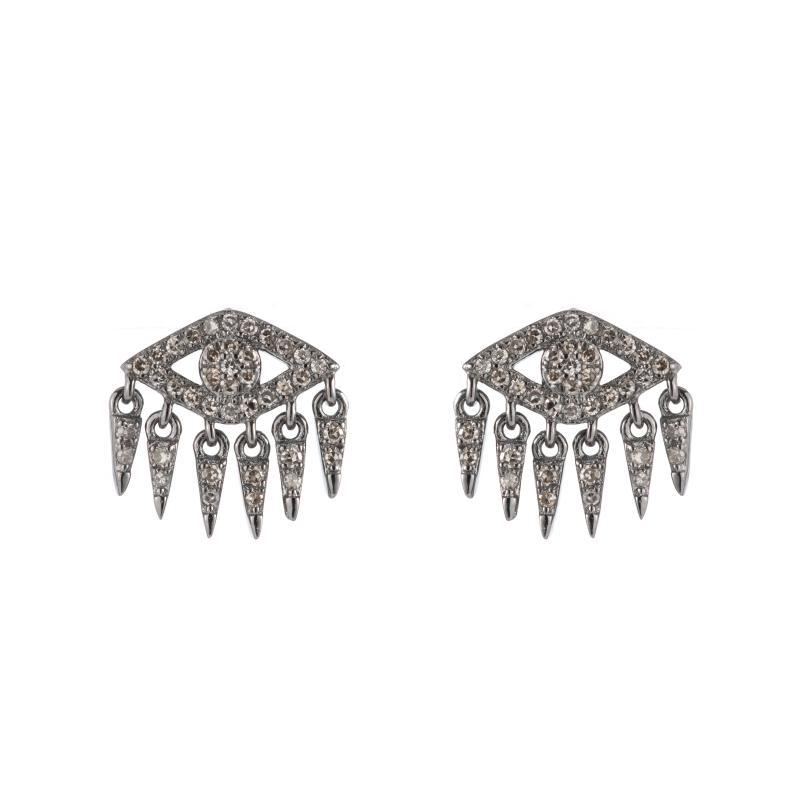 Brooklyn Diamond Pavé Evil Eye Fringe Earrings-Earrings-Ashley Schenkein Jewelry Design