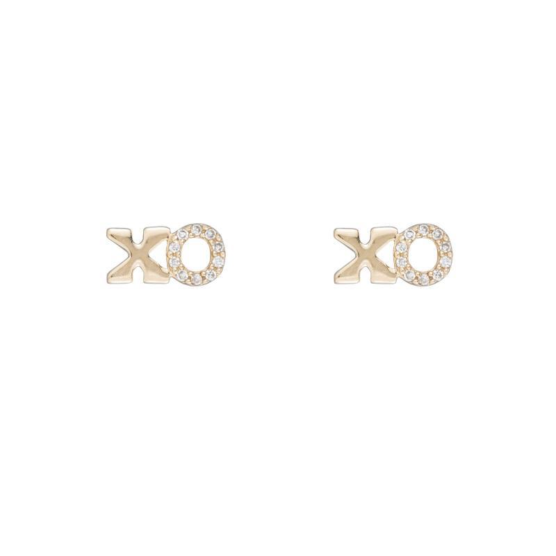 Diamond Yellow Gold XO Earrings, 14k-Earrings-Ashley Schenkein Jewelry Design
