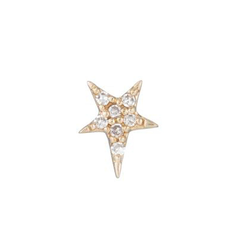 Diamond Yellow Gold Star SINGLE Stud Earring, 14k-Earrings-Ashley Schenkein Jewelry Design