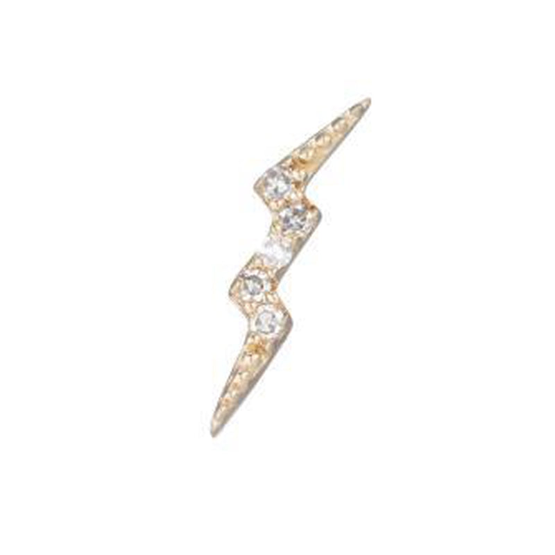 Diamond Yellow Gold Lightning Bolt SINGLE Stud Earring, 14k-Earrings-Ashley Schenkein Jewelry Design