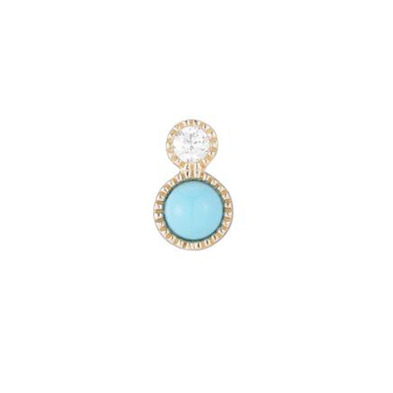 Diamond and Turquoise Yellow Gold SINGLE Stud Earring, 14k-Earrings-Ashley Schenkein Jewelry Design