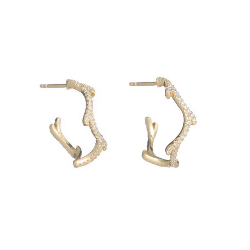 Melrose Tree Branch CZ Hoop Earrings-Earrings-Ashley Schenkein Jewelry Design
