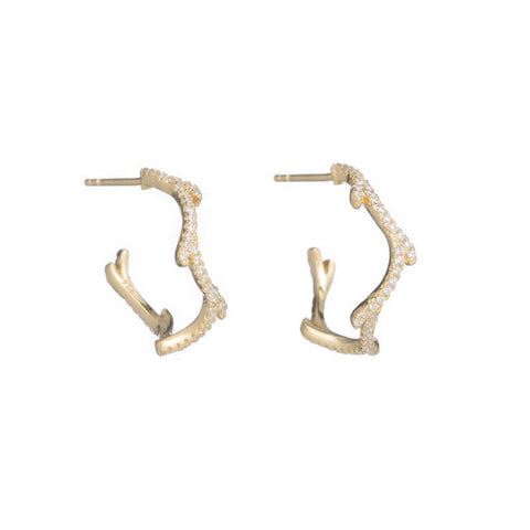 Melrose Tree Branch CZ Hoop Earrings