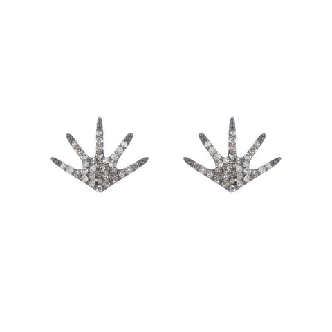 Diamond Pavé and Black Garnet Earrings, 14k