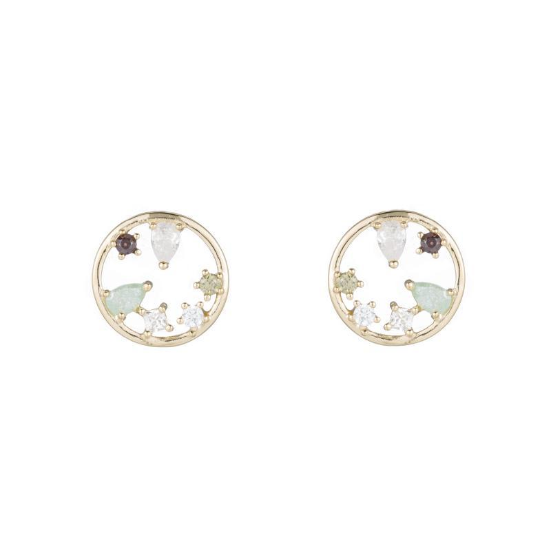 Melrose Open Circle Gemstone Stud Earrings-Earrings-Ashley Schenkein Jewelry Design