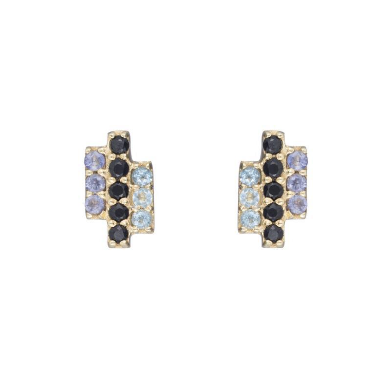 Greece Pavé Triple Gemstone Bar Earrings-Earrings-Ashley Schenkein Jewelry Design