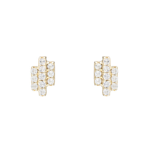 Greece Pavé Triple Gemstone Bar Earrings