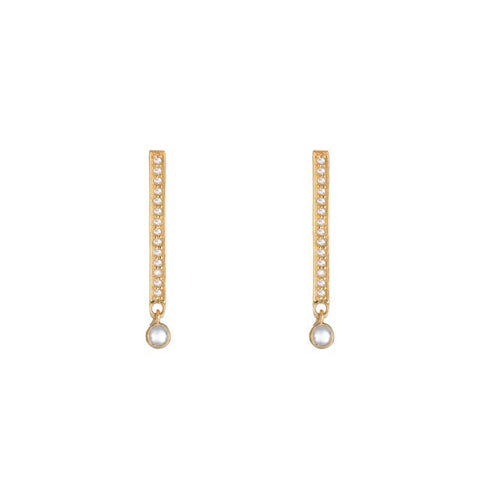 Diamond Yellow Gold Lightning Bolt SINGLE Stud Earring, 14k