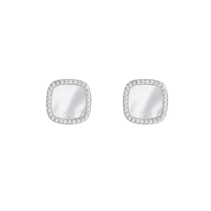 Pavé Mother of Pearl Square Stud Earrrings-Earrings-Ashley Schenkein Jewelry Design