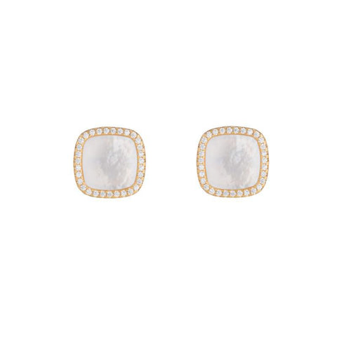 Pavé Mother of Pearl Square Stud Earrrings