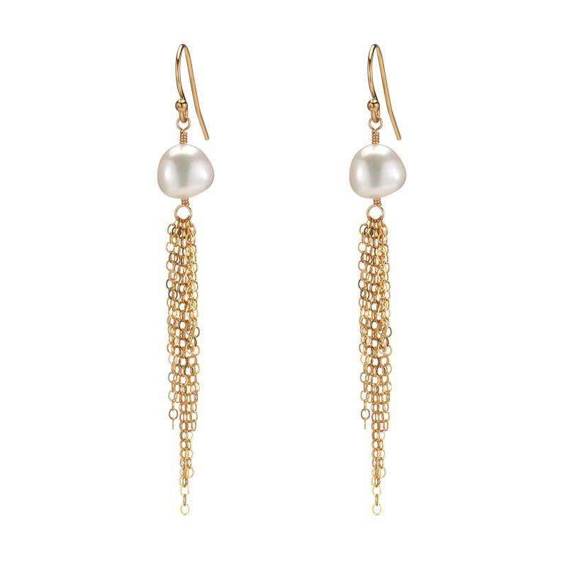 Croatia White Pearl Tassel Earrings-Earrings-Ashley Schenkein Jewelry Design