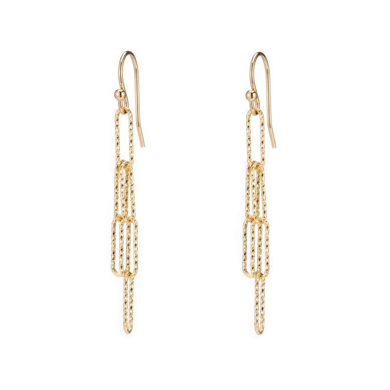 Croatia Rectangle Diamond Cut Link Earrings-Earrings-Ashley Schenkein Jewelry Design