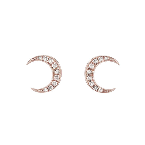 Diamond Pavé Crescent Moon Earrings, 14k