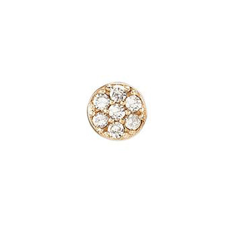 Diamond Pavé Mini Disc SINGLE Stud Earring, 14k-Earrings-Ashley Schenkein Jewelry Design