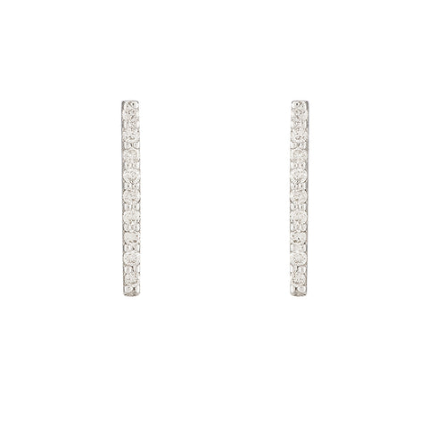 Diamond Pavé Large Bar Earrings, 14k