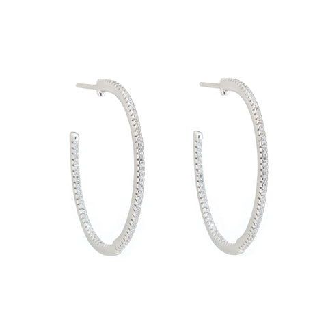 Melrose CZ Inside Outside Pavé Hoop Earrings