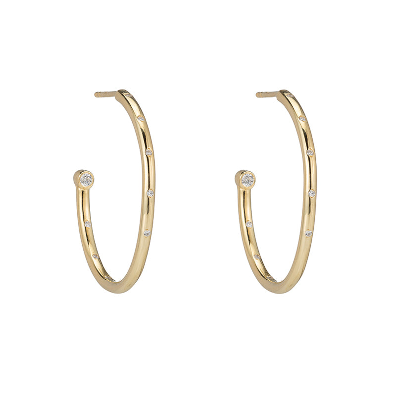 Melrose Large Hoop Earrings with Flush Set CZ-Earrings-Ashley Schenkein Jewelry Design