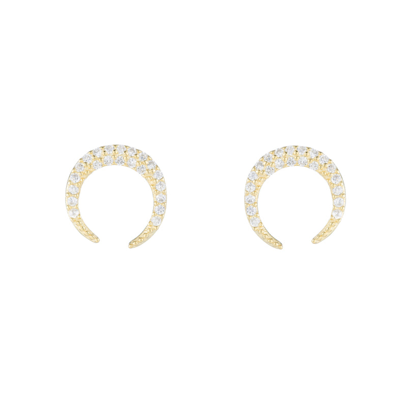 Melrose Pavé CZ Crescent Earrings-Earrings-Ashley Schenkein Jewelry Design