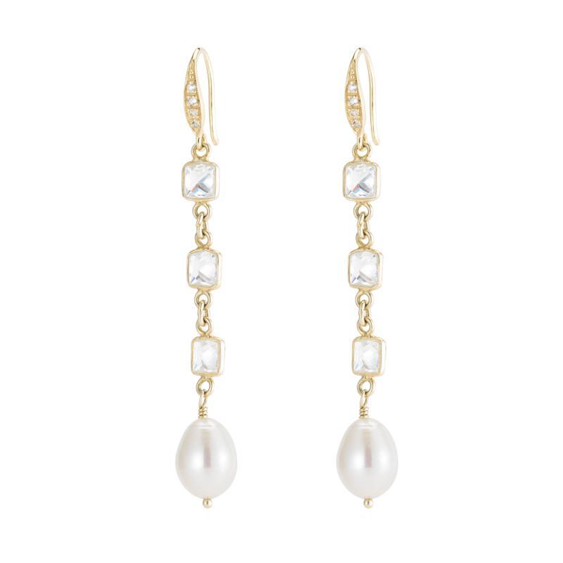 Bridal Princess CZ and Pearl Drop Earrings-Earrings-Ashley Schenkein Jewelry Design