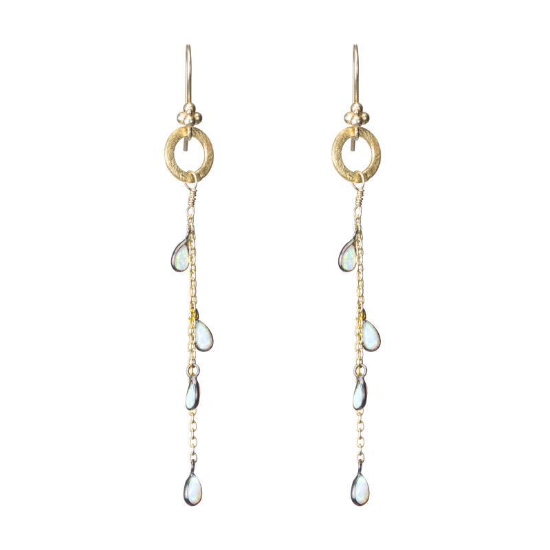 french wire dangle earrings with opal teardrops and a vermeil oval