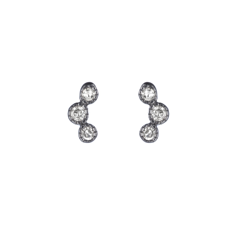 Brooklyn Diamond Triple Bezel Earrings-Earrings-Ashley Schenkein Jewelry Design