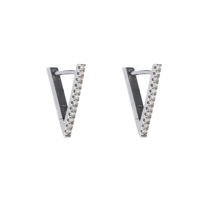 Brooklyn Diamond Pavé Triangle Hoop Earrings-Earrings-Ashley Schenkein Jewelry Design