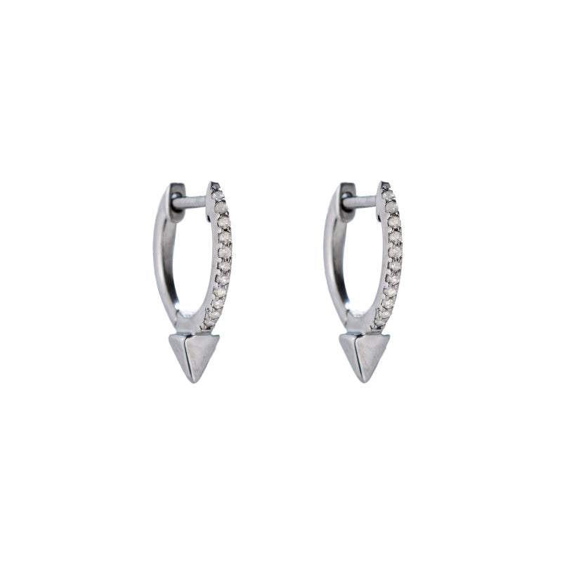 Brooklyn Diamond Pavé Spike Huggies Earrings-Earrings-Ashley Schenkein Jewelry Design