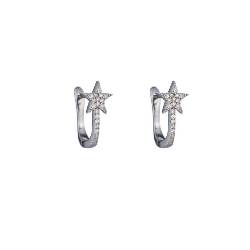 Brooklyn Diamond Pavé Star Huggies Earrings-Earrings-Ashley Schenkein Jewelry Design