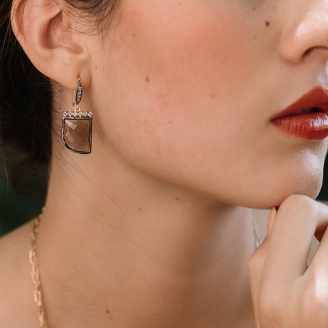 Portland Gemstone Pavé Horn Earrings