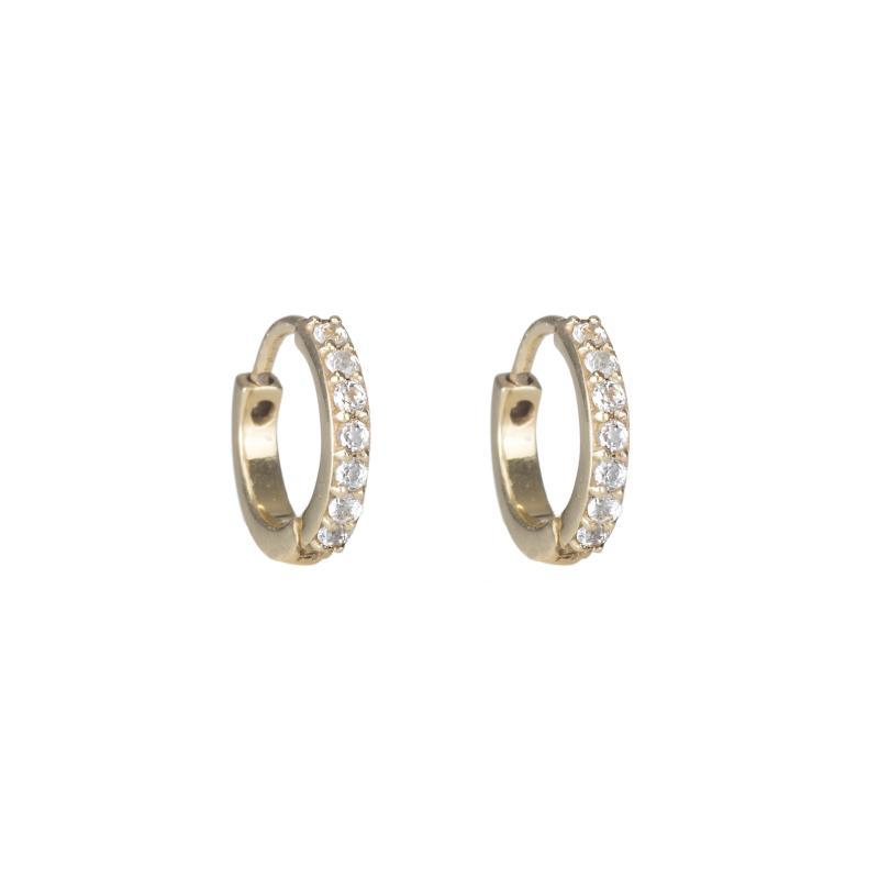 Pavé hoops in gold with white topaz stones
