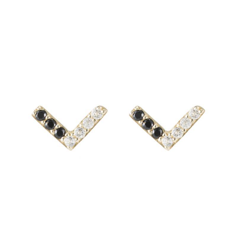 Portland Pavé Chevron Stud Earrings-Earrings-Ashley Schenkein Jewelry Design