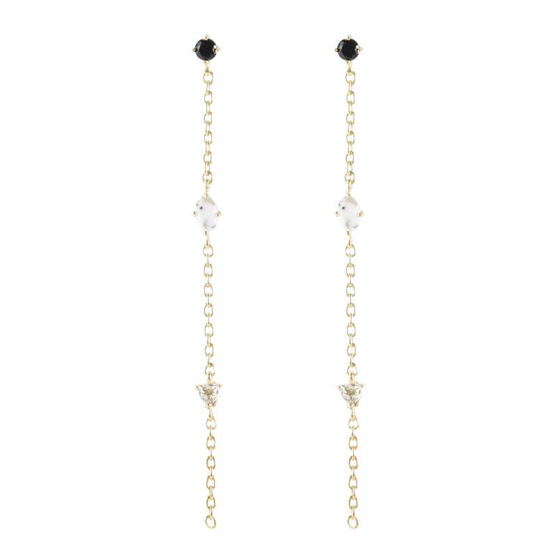 Earrings shown in black onyx,dendrite opal,white topaz, vermeil