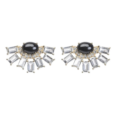 Jaipur Oval Cabachon and Baguette Earring