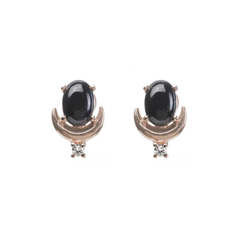 crescent moon earrings pictured in rose gold with Black Garnet and White Topaz stones