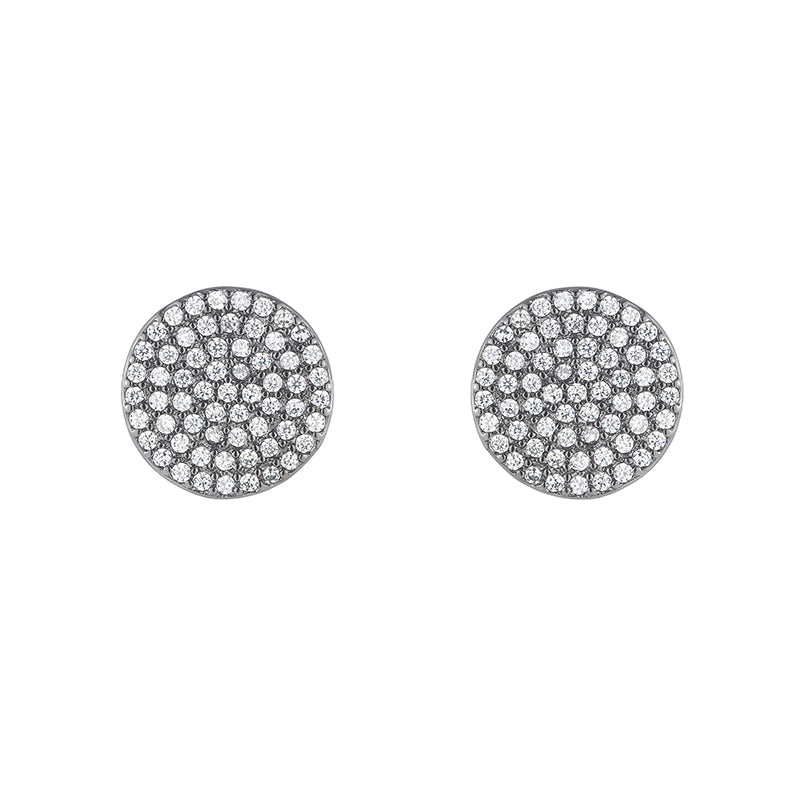 Melrose Pavé Disc Earrings-Earrings-Ashley Schenkein Jewelry Design