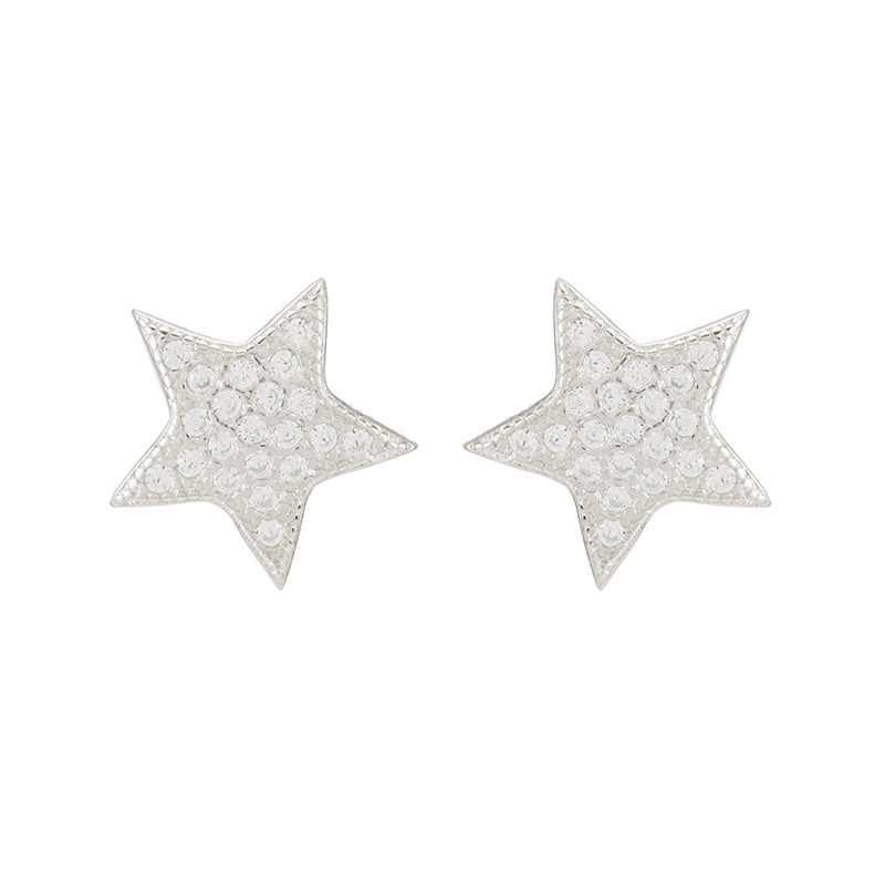 Melrose CZ Pavé Small Star Studs-Earrings-Ashley Schenkein Jewelry Design