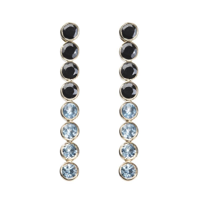 Ombre earrings in gold with Black Garnet, Labradorite and White Topaz stones