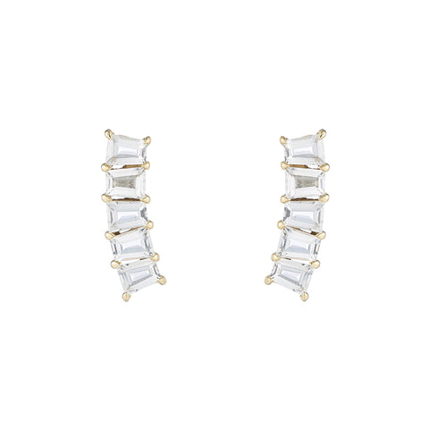 Greece Gemstone Baguette Ear Climbers