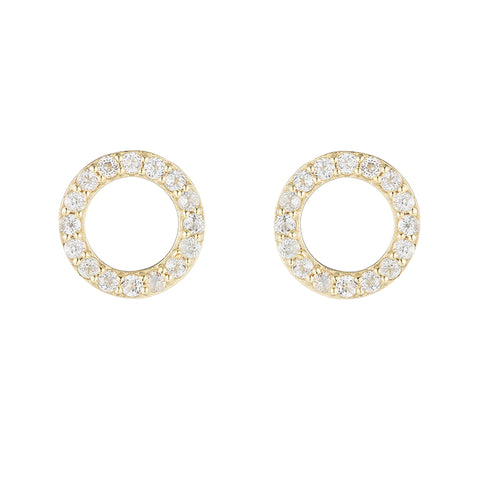 Greece Pavé Gemstone Circle Earrings