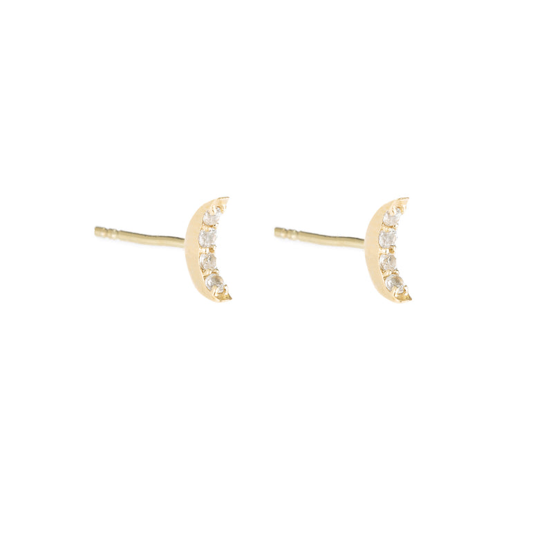 Greece Pavé Crescent Moon Earrings-Earrings-Ashley Schenkein Jewelry Design