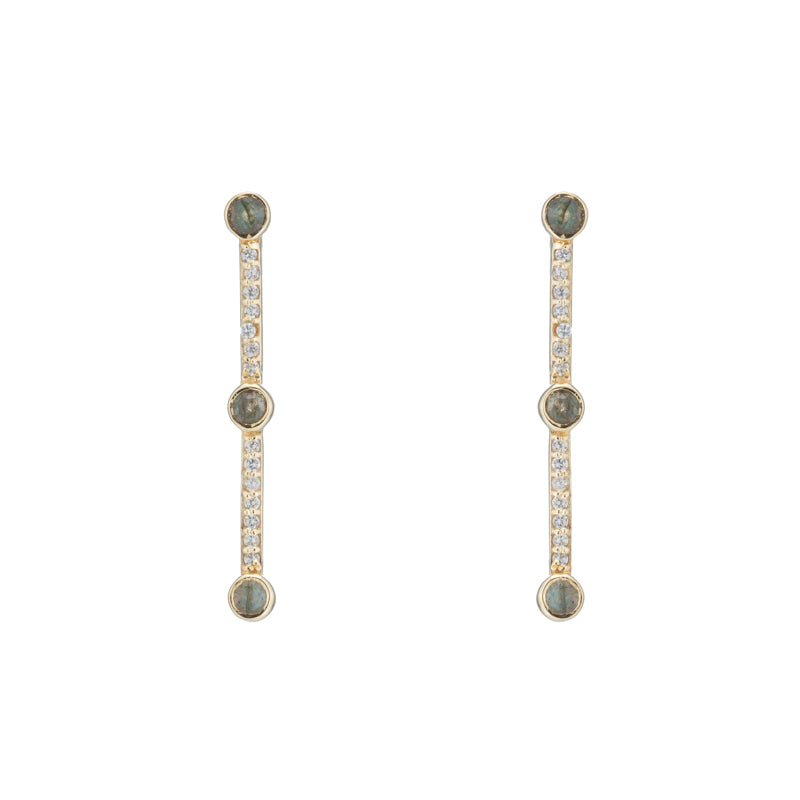 Montreal Pavé Bar and Gemstone Earrings-Earrings-Ashley Schenkein Jewelry Design