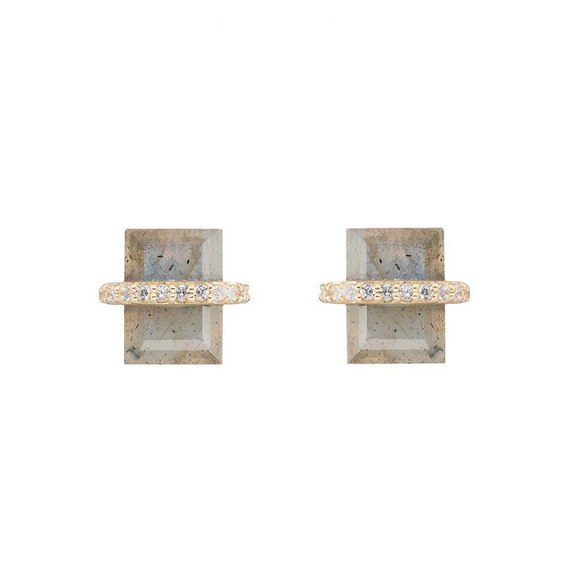 Montreal Cushion and Pavé Band Earrings-Earrings-Ashley Schenkein Jewelry Design