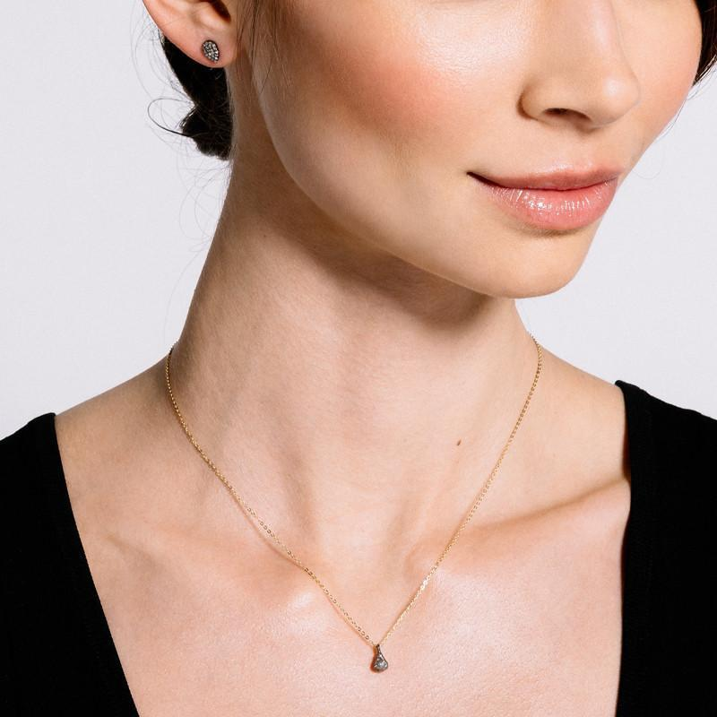 Brooklyn Small 3-D Teardrop Diamond Necklace-Necklace-Ashley Schenkein Jewelry Design